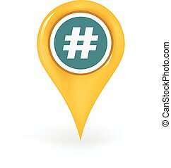 Tag Location - Map pin showing a hashtag