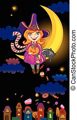 Halloween greeting card or invitation with cute cartoon...