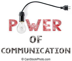 power of communication phrase and light bulb, hand writing business  Internet