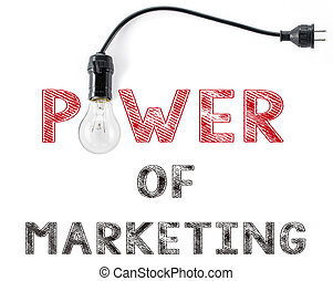 power of marketing phrase and light bulb, hand writing business