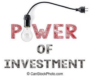 power of investment phrase and light bulb, hand writing inspiration