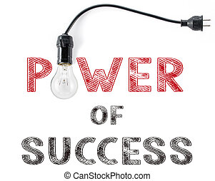 power of success phrase and light bulb, hand writing business
