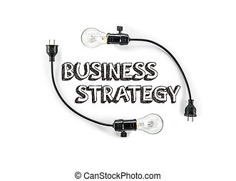 businesss strategy phrase and light bulb, hand writing,...