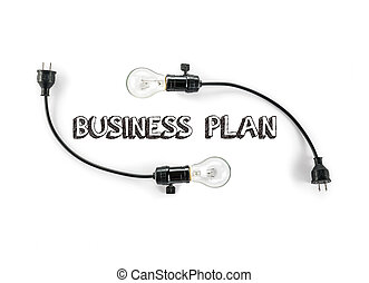 businesss plan phrase and light bulb, hand writing,...
