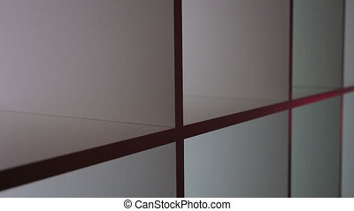 close up of a white shelf - Close up of a white shelf with...