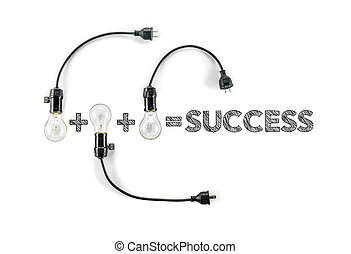 success phrase and light bulb, hand writing, business design  Marketing
