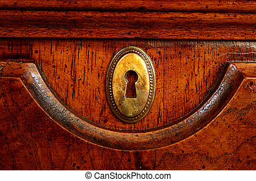 Wooden door of an ancient desk with a decorative metal plate...