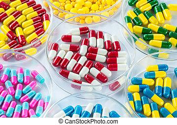 colorful medicament in Petri Dish, Healthcare And Medicine...