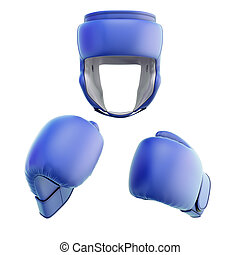 Blue boxing helmet with gloves