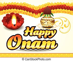 happy onam celebration background with floral vector...