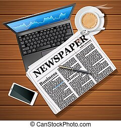 newspaper with laptop and mobile phone with hot coffee