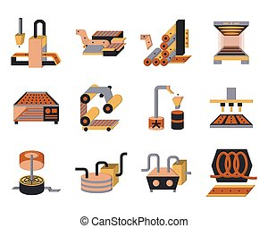 Flat color vector icons for food processing - Set of flat...