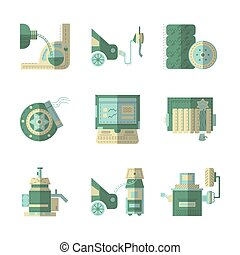 Flat color vector icons for car service - Set of green flat...