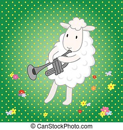 lamb musician on a green background