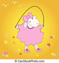 sheep jumping on a rope.eps