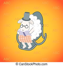 sheep sitting in a rocking chair and reading a book