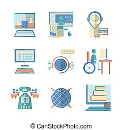 Flat color vector icons for e-education - Set of educational...