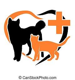 laranja, Coração, vetorial, Animais estimação