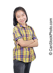 Asian girl 12 years old cross ones arm isolate on white...
