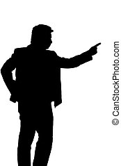 Asian business man giving command, silhouette in studio...