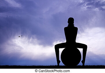 Pilates silhouette at sunset - illustration of pilates...