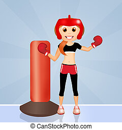 girl boxe - illustration of girl boxe