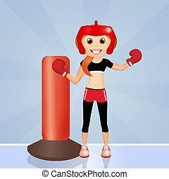 girl boxe - illustration of girl boxe