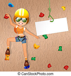 rock climbing - illustration of rock climbing