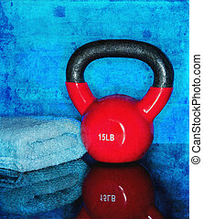 Kettle Ball Workout - Red Kettle ball on blue background...