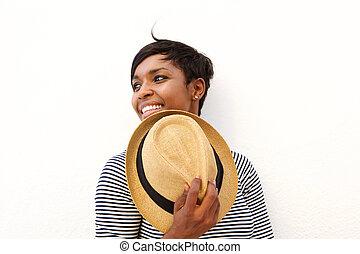 黒, 微笑, 女, 帽子, 保有物