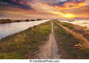 natural reserve Valli di Comacchio in Italy - picturesque...