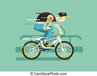 Active bicyclist. Young guy on bmx traffic, motion active....