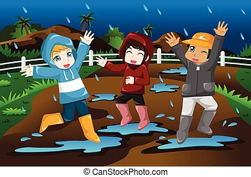 Kids Playing Under the Rain - A vector illustration of happy...