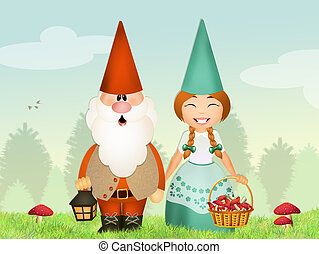 gnomes couple - illustration of gnomes couple