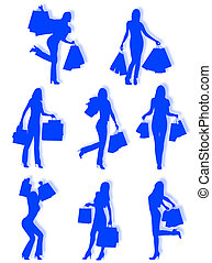 Shopping women silhouettes in different poses and attitudes