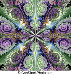 Quartet in Green and Purple - Computer generated fractal...