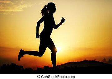 correndo,  silhouette, ragazza, tramonto