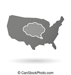 USA map icon with a comic cloud balloon