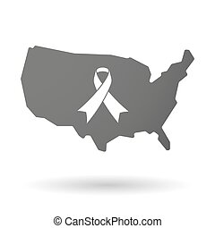 USA map icon with an awareness ribbon