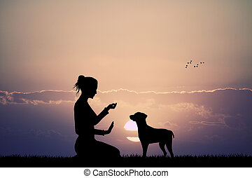 trained dog at sunset - illustration of trained dog at...