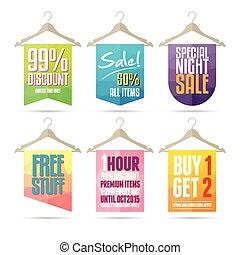 Hanger Sale Label - Vector illustration of colorful hanger...