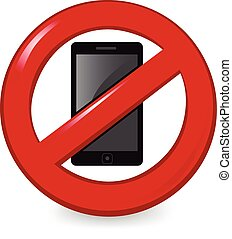 No Phones - Cell phone in a ban sign.