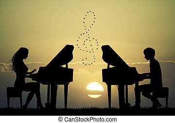 plays to piano at sunset - illustration of plays to piano at...