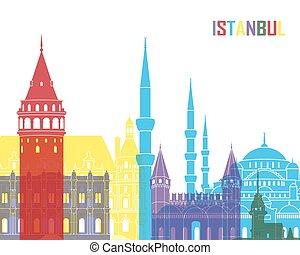 Istanbul skyline pop in editable vector file