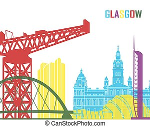 Glasgow skyline pop in editable vector file