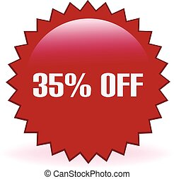 35 Percent Off Sticker - Thirty five percent off discount...