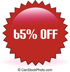 65 Percent Off Sticker - Sixty five percent off discount...