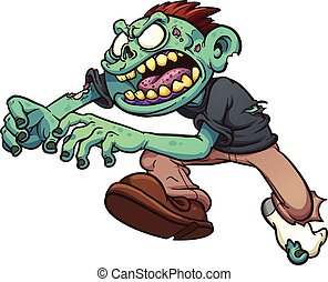 Cartoon zombie - Running cartoon zombie. Vector clip art...