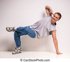Breakdancer - Attractive young breakdancer showing his...