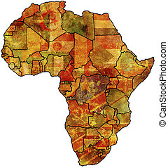 africa political old map - some very old grunge map with...